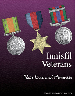 Book cover depicts war medals on purple background for Innisfil Their Lives and Memories by Innisfil Historical Society