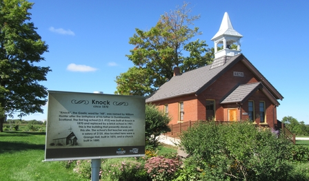 Image of Knock School House with Historic Plaque in Foreground