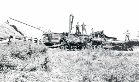 Photo of men standing on a threshing machine in 1935
