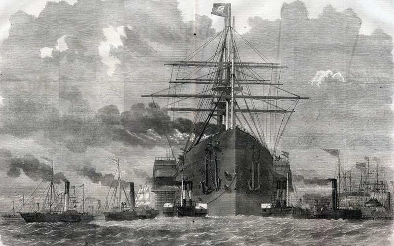 Illustration of the Great Eastern steamship in a harbour